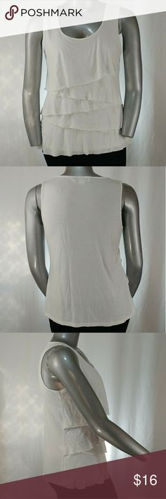"""Liz Claiborne Sleeveless Ruffle Scoop Blouse, XL Soft, white, sleeveless, scoop neck, ruffle front blouse.   70% rayon, 30% polyester   26"""" length, 42"""" bust   Size XL by Liz Claiborne. Liz Claiborne Tops Blouses"""