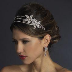 Double Flower Rhinestone Side Accent Wedding Headband - Affordable Elegance Bridal -