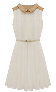 Apricot Sleeveless Belt Pleated Chiffon Dress - Sheinside.com