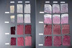 esthervaneden: Natural textile dye 2: Hibiscus. Used cotton, wool, silk, soda, salt, vinegar experiements