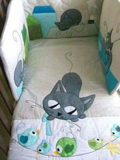 Colcha gato Colchas Country, Cat Applique, Patchwork Baby, Baby Quilt Patterns, Cat Quilt, Quilting, Sewing Rooms, Cat Pattern, Baby Decor