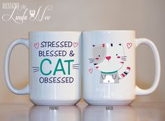 Cat Mug, Stressed Blessed and Cat Obsessed Funny Coffee Mug, Cat Lady Gift, Cat Quote Mug, Funny Cat Tea Mug Cat Lady Tea Cat Tea Mug MSA137  ♥ AVAILABLE SIZES 15 oz 11 oz   AVAILABLE AS A PRINT!!! ♥ ♥ ♥ ♥ ♥ ♥  AVAILABLE AS A PINBACK BUTTON!!! ♥ ♥ ♥ http://etsy.me/1Wqqwhj ♥ ♥ ♥  ♥ ABOUT OUR MUGS ♥ All designs are personally created by me and exclusive to DesignsbyLindaNee ♥♥♥♥♥ http://etsy.me/1O2ftEU ♥♥♥♥♥ and DesignsbyLindaNeeToo ♥ Each mug is custom imprinted in our studio in Henniker, New…