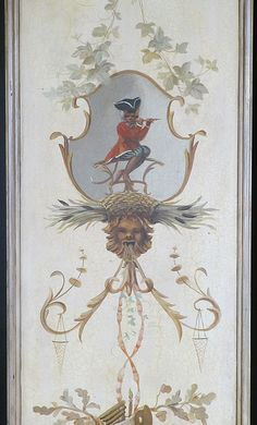 A Fine Pair of Singerie Sub-Genre Chinoiserie Style Painted Panels, after the antique, the elaborately painted wood panels, designed after the Trompe l'oeil panels in the Salon des Singes at The Château Chantilly, each panel depicting allegorical scenes of fashionably attired monkeys aping human behavior, playing musical instruments, swinging from vines and being swung, the pale background amongst cornucopias filled with flowers, urns, masks, scrolls and acanthus. Circa: 20th Century