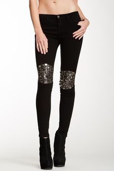 Mid-Rise Pieced Leather Skinny Jean - armoured knees