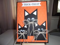 Stampin' Up! Trick or Treat by bmbfield . fun card with a trio of black cats . googly eyes and string bows for whiskers . Cat Cards, Kids Cards, Thanksgiving Cards, Holiday Cards, Greeting Cards Handmade, Handmade Halloween Cards, Pretty Cards, Paper Cards, Homemade Cards