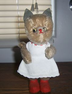 "Vintage 1950's German Kersa Mohair Cat Doll ' 6 1/2"" W ORIGINAL Dress AND Shoes"