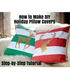 DIY the halls this holiday season with handmade decor! Create gorgeous holiday pillow covers in half the cost! Everyone will be asking for a glittered reindeer pillow covers for Christmas!