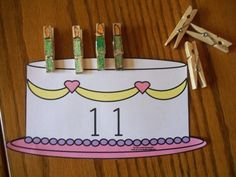 Another good idea for using clothespins: candles on a cake math