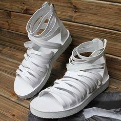 White Leather Cyber Punk Rock Gladiator Fashion Sandal Boots for Men SKU-1280132