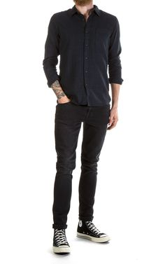 Nudie Jeans Henry Flannel Check Black