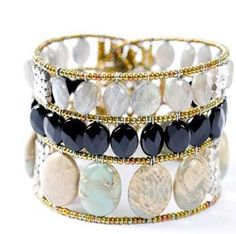 Dream Black: this Italian designer bracelet is handmade of semi-precious stones in great neutrals that work day or night. $350.