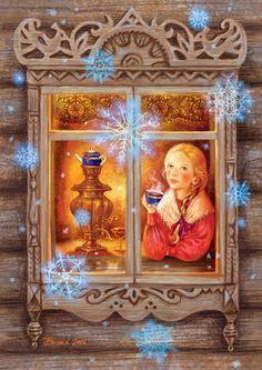 Main okno zima v copy mini Russian Folk Art, Ukrainian Art, Christmas Pictures, Christmas Art, Decoupage, Russian Painting, Holiday Photo Cards, Illustrations, Winter Scenes