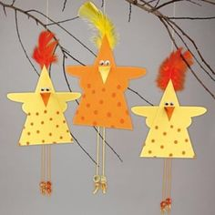Klik for at se et større billede Bird Crafts, Animal Crafts, Diy And Crafts, Paper Crafts, Easter Art, Easter Crafts For Kids, Diy For Kids, Mobiles For Kids, Chicken Crafts