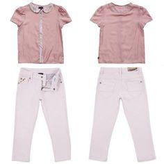 "@Paul Smith Junior Spring Summer 2014, ""Felicia"" blouse with jeans #pink #paulsmithjunior #childrens #kids #childrenswear #kidswear #kidsfashion #girls #boys"