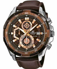 CASIO EDIFICE WATCHES - CASIO Edifice Brown Leather Strap