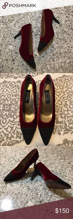 Stuart Weitzman Velvet Heels Red velvet shoe with black suede patent tip, pointed toe heels. Gold satin cover. In great condition. Hardly worn, leather sole still looks new. Made in Spain Stuart Weitzman Shoes Heels