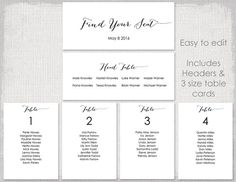 Wedding Seating Chart Template Black And White Scroll Printable