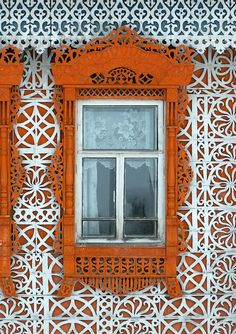 Ivanovo Region, Russia wood carvings on homes