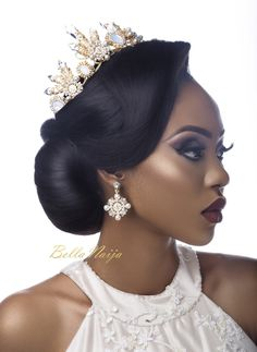 BN Bridal Beauty: Be Inspired by these Gorgeous Wedding Reception Looks for Every Beautiful Bride - BellaNaija Hair by Bridal Makeup Looks, Wedding Hair And Makeup, Bridal Beauty, Bridal Looks, Hair Makeup, Black Bridal Makeup, Bride Makeup, Makeup Tips, Black Wedding Hairstyles