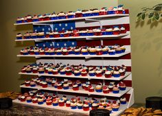 Di's Delights make scrumpious cupcakes for dessert.  Di's husband made the gorgeous patriotic display.