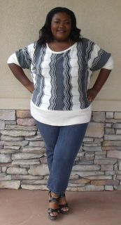 """Gray, Black, and White Sweater With Zig-Zag Design -Size 22/24 by Ashley Stewart -100% Acrylic -Width 53""""/Length 30"""" -Stylish and warm"""