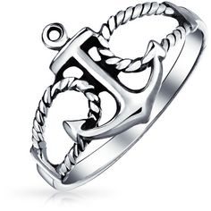 925 Sterling Silver Nautical Rope Anchor Ring ($15) ❤ liked on Polyvore featuring jewelry, rings, grey, rings best sellers rings, sterling silver jewellery, sterling silver beach jewelry, band jewelry, beach jewelry and nautical jewelry