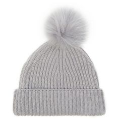 Fur Pom Pom Beanie (655 MXN) ❤ liked on Polyvore featuring accessories, hats, beanies, headwear, beanie hats, fur hat, fur beanie, pom pom hat and pom beanie