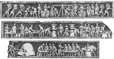 """Relieve que orna la tumba de Eurysaces (Roma, s. I a.C). (De M. Rostovzeff, """"Historia social y económica del Imperio Romano"""")"""
