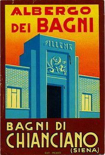 vintage Italian advertising for hotel with baths, Bagni di Chianciano