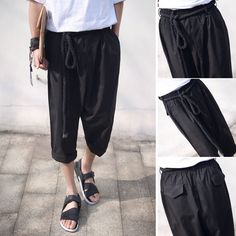 US $39.00 New with tags in Clothing, Shoes & Accessories, Men's Clothing, Pants Black Pants Outfit, Black Trousers, Casual Pants, Samurai Pants, Fashion Outfits, Mens Fashion, Linen Pants, Men's Clothing, Style Guides
