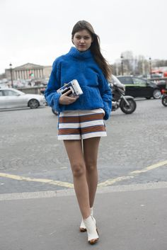 Striped shorts show off mile long stems. #PFW