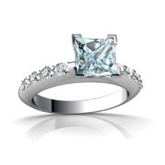 14K White Gold Square Genuine Aquamarine Engagement Ring Size 6.  List Price: $1,259.00  Savings: $660.00 (52%)