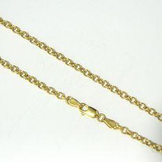 Cadena de plata de primera ley de 45 cm de largo chapada en oro amarillo