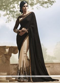 Black And Cream Half And Half Saree