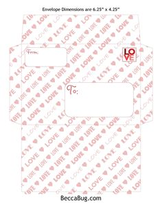 4 Valentine Envelope design patterns for 4x6 photos