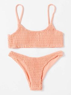 2466ad32bc9ee SweatyRocks Women s Sexy Bathing Suit Solid Color Halter Shirred Bikini  Swimsuit