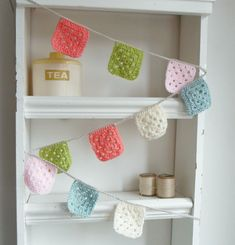 Crochet Garland - Banner - Bunting granny squares in Baby Pink - Olive - Peachy Pink and Duck Egg Crochet Bunting, Crochet Garland, Baby Bunting, Bunting Garland, Crochet Decoration, Crochet Cushions, Crochet Chain, Crochet Cross, Crochet Home