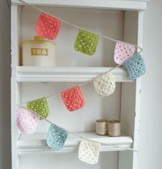 Crochet Garland  Banner  Bunting  granny squares by littleteawagon
