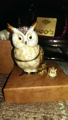 Jere owl from Moodys. 24k gold, enamel, Austrian crystals. Gift from my love :) he did great. Trinket box with matching necklace surprise inside