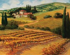 Illustrations with a view Watercolor Landscape, Landscape Art, Landscape Paintings, Watercolor Art, Classic Paintings, Beautiful Paintings, Beautiful Landscapes, Tuscany Landscape, Mountain Landscape