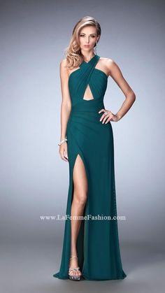 La Femme 22380 Criss-Cross Drape Front Jersey Gown More Colors