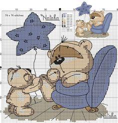 Fizzy Moon, Cross Stitch, Teddy Bear, Kids Rugs, Animals, Home Decor, Marque Page, Crosses, Punto De Cruz