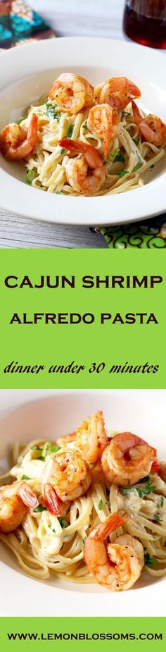 This Cajun Shrimp Alfredo Pasta is creamy, rich and flavorful with a bit of a kick! The best part is, you can have dinner on the table in under 30 minutes!!!