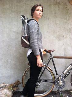 Brown bike pannier, waxed canvas cycling backpack, bike bag -Anhaica Bagworks on Etsy