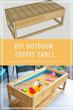 kids furniture DIY Outdoor Coffee Table with hidden sandbox Diy Kids Furniture, Diy Garden Furniture, Diy Outdoor Furniture, Furniture Decor, Furniture Legs, Barbie Furniture, Furniture Design, Furniture Makeover, Diy Outdoor Toys