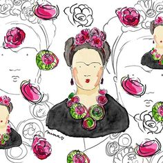 I made a new #pattern from my #fridakahlo sketch. It will be soon available in my #redbubble shop.   Link is in my BIO What do you think? Do you like it? I can't wait get some products for myself too!  by matejalukezic