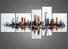 - Description - Why Accent Canvas? This exquisite Contemporary Cityscape Canvas Wall Art Oil Painting is hand-painted on canvas by one of our master artists. Each artists begins with a blank canv Oil Painting On Canvas, Canvas Art Prints, Canvas Wall Art, Canvas 5, Cityscape Art, Contemporary Wall Art, Modern Wall, City Art, Design Art