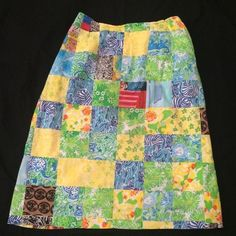 """VINTAGE THE LILLY PULITZER Patch Patchwork Lined Skirt Multi Prints 28"""" #LillyPulitzer #ALine"""