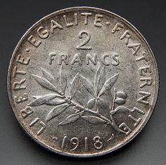 1918 France 2 Francs Nice Collectible Silver Coin – Gold Stream Boutique