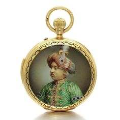 Charles Frodsham. An 18k yellow gold hunting cased minute repeating watch made for the Indian market with enamel portraits. Circa 1890. • gilt three quarter plate lever movement signed Cha. Frodsham, some jewels carried in screwed gold chatons, repeating on two steel gongs • white enamel dial, Roman numerals, subsidiary seconds • both sides of the hunting case with polychrome enamel portraits of Indian dignitaries dressed in embroidered robes  impressive jewels